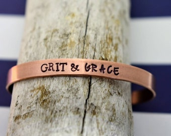 Grit and Grace Hand Stamped Cuff Bracelet - Inspirational Bracelet - Hand Stamped Cuff Bracelet - Entrepreneur - Gift for Her - Motivational