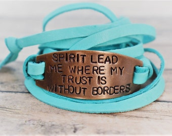 Spirit Lead Me Where My Trust Is Without Borders Hand Stamped Brass Leather Wrap Bracelet - Christian Jewelry-Gift for Her-Wrap Bracelet