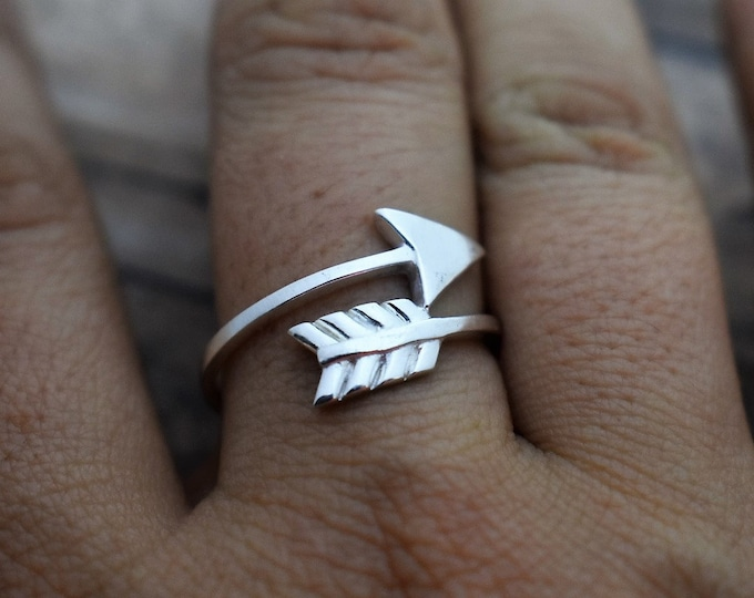 Arrow Wrap Ring - Sterling Silver - Hand Stamped Initials -  Gift for Her - Anniversary Gift - Best Friends Gift - Boho Ring