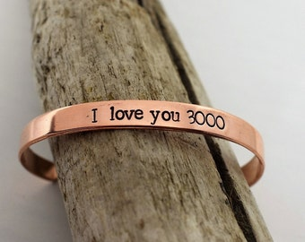 I Love You 3000 Bracelet - Hand Stamped Cuff Bracelet - Avengers Endgame Fan - Avengers Jewelry - I Love You - Iron Man