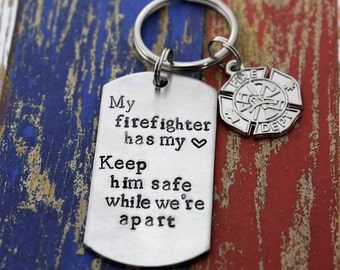 """Hand Stamped Firefighter Keychain """"My Firefighter Has My Heart"""" Dog Tag Keychain*Firefighter Wife*Fireman*Firefighter Gift*Firefighter Charm"""