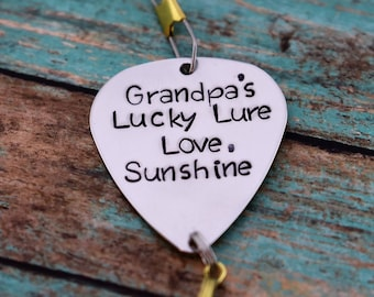"""Handmade Stamped Fishing Lure - """"Grandpa's Lucky Lure"""" - Father's Day*Fisherman*Personalized Lure*Gift for Grandpa*"""