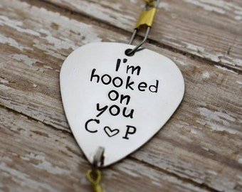 """Handmade Stamped Fishing Lure - """"I'm hooked on you"""" *Personalized Lure*Valentine's Gift*Gift for Him*Anniversary Gift*Father's Day*"""