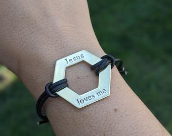 Octagon Hand Stamped Bracelet - Jesus Loves Me - Leather Adjustable Bracelet - Christian Jewelry