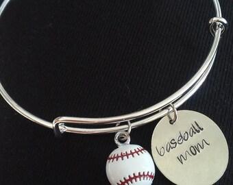 Expandable Charm Bangle Bracelet with Baseball Mom and Baseball Charms*Hand Stamped**Charm Bracelet**Bangle Bracelet**Baseball Mom*