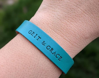 Grit & Grace Hand Stamped Leather Cuff Bracelet - Christian Jewelry - Leather Bracelet - Faith Jewelry