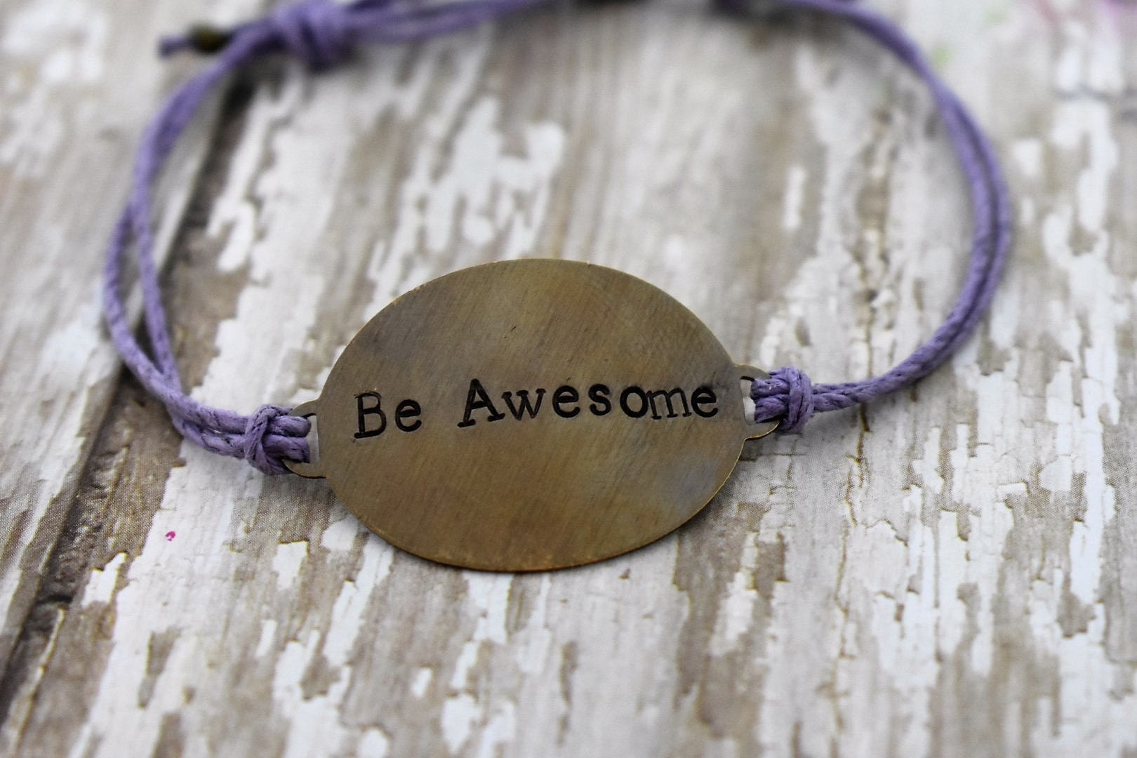 Hand Stamped Brass Be Awesome On Hemp Cord Bracelet Gift For Her Inspirational Jewelry