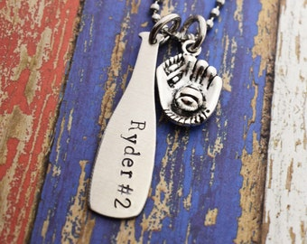 Baseball Necklace - Hand Stamped Name Jersey Number *Baseball Mom*Baseball Necklace*Personalized Baseball Necklace*Baseball Player Jewelry*