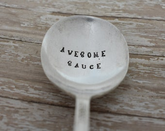 Awesome Sauce Vintage Hand Stamped Soup Spoon - Funny Spoon - Funny Gift
