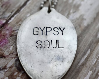 """Hand Stamped Spoon Necklace """"Gypsy Soul"""" *Upcycled Spoon**Gift For Her*Unique Gift*Spoon Necklace"""