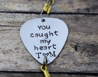 """Handmade Stamped Fishing Lure -""""You caught my heart"""" *Personalized Lure*Anniversary Gift*Fisherman*Gift for Him*Valentine's Gift*"""