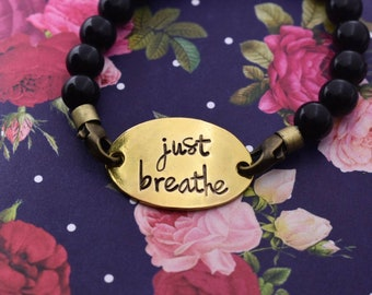 Just Breathe Hand Stamped Beaded Bracelet - Inspirational Jewelry - Daily Mantra