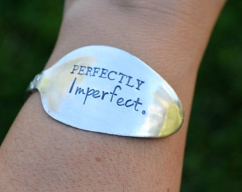 Hand Stamped Vintage Silver Plated Spoon Bracelet Bangle - Perfectly Imperfect