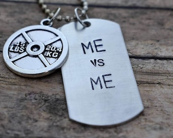 Hand Stamped ME vs ME Dog Tag Necklace with Weight Plate Charm *Fitness Jewelry**Motivational Jewelry**Exercise**Dumbell*
