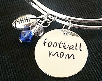 Expandable Charm Bangle Bracelet with Football Mom and Football Charms*Hand Stamped**Charm Bracelet**Bangle Bracelet**Football Mom*