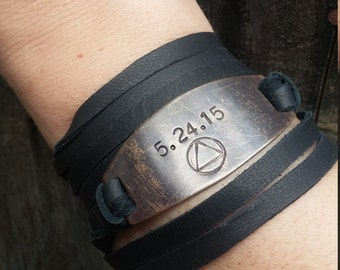 Sobriety Bracelet - Hand Stamped AA Symbol with Sobriety Anniversary Date *Leather Wrap Bracelet*Sobriety Jewelry*Sobriety Anniversary Gift*