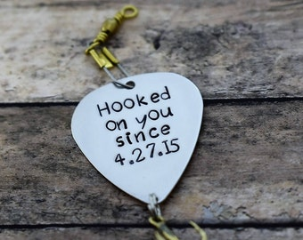 """Handmade Stamped Fishing Lure - """"Hooked on you"""" - *Valentine's Day*Anniversary*Fisherman*Personalized Lure*Father's Day Gift"""