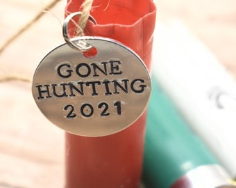 Shotgun Shell Christmas Ornament with Hand Stamped Charm - Gone Hunting with Year *Redneck Christmas*Personalized Christmas Ornament*