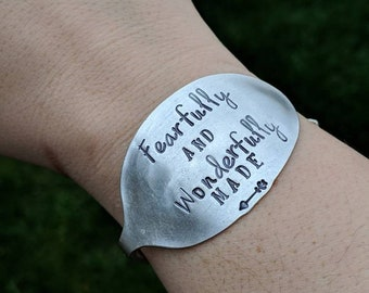 Hand Stamped Vintage Silver Plated Spoon Bracelet Bangle - Fearfully and Wonderfully Made - Christian Jewelry - Faith