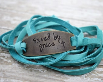 Saved By Grace- Hand Stamped Leather Wrap Bracelet - Christian Jewelry - Faith - Gift for Her