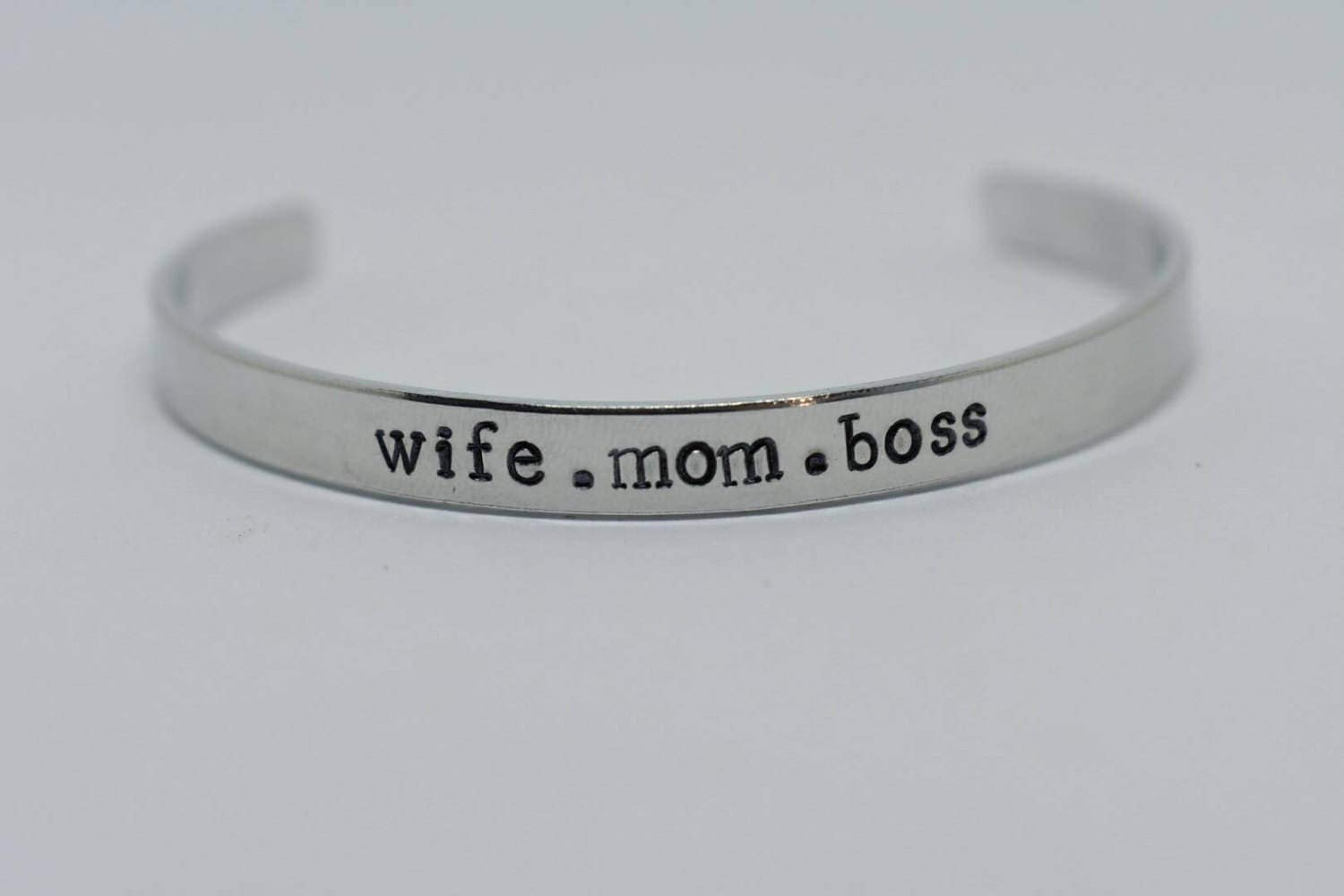 6f1e75bc09637 Hand Stamped Cuff Bracelet wife.mom.boss *Personalized Bracelet ...