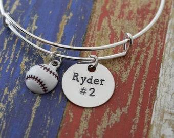 Personalized Baseball Expandable Charm Bangle Bracelet*Hand Stamped*Charm Bracelet*Bangle Bracelet*Baseball Jewelry*Baseball Mom
