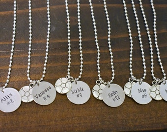 Personalized Hand Stamped Team Necklace - Hand Stamped with Name & Jersey Number and Sports Charm *Soccer Team*Cheerleading Squad*Softball*