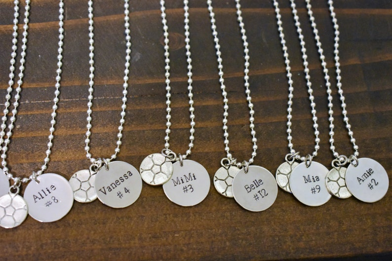 Personalized Hand Stamped Team Necklace Hand Stamped with Name /& Jersey Number and Sports Charm *Soccer Team*Cheerleading Squad*Softball*
