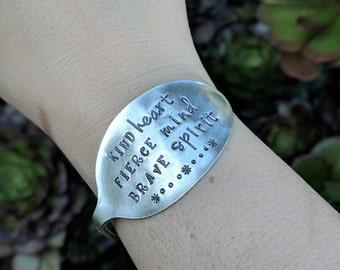 Hand Stamped Vintage Silver Plated Spoon Bracelet Bangle - Kind Heart Fierce Mind Brave Spirit