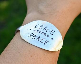 Hand Stamped Vintage Silver Plated Spoon Bracelet Bangle - Grace Upon Grace