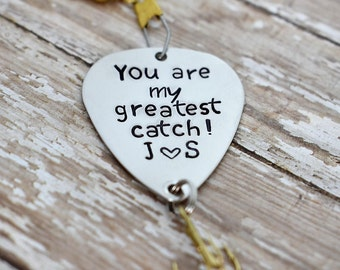 """Handmade Stamped Fishing Lure - """"You are my greatest catch"""" *Personalized Lure*Valentine's Gift*Gift for Him*Anniversary Gift*Father's Day*"""
