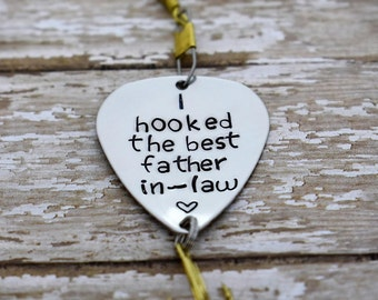 """Handmade Stamped Fishing Lure -""""I hooked the best father in-law""""*Fisherman*Personalized Lure**Gift for Him**Father's Day**Wedding Gift*"""