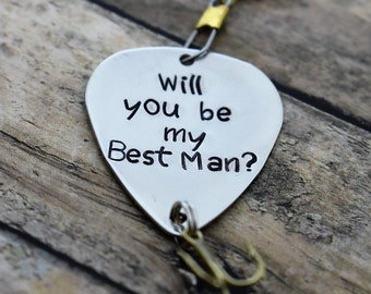 """Handmade Stamped Fishing Lure -""""Will you be my Best Man?""""*Fisherman*Personalized Lure**Gift for Him**Father's Day**Wedding Gift*"""
