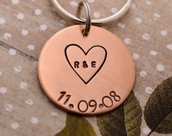 Heart with Initials and Date Hand Stamped Keychain - Personalized Keychain - Anniversary Gift - Wedding Day Gift - Valentine's Day Gift