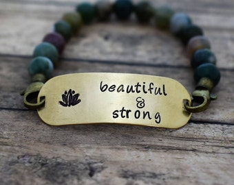 """Beaded Bracelet with Hand Stamped Lotus """"Beautiful & Strong"""" *Gift for Her*Lotus*Namaste*"""