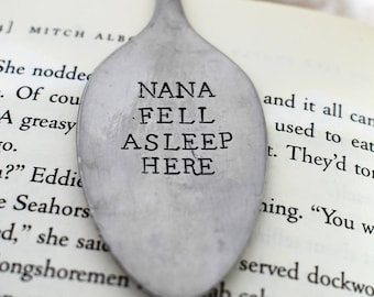 Hand Stamped Upcycled Spoon Bookmark*Personalized Bookmark*Fell Asleep Here*Unique Bookmarks*Spoon Bookmarks*Unique Gift*Bookworm*
