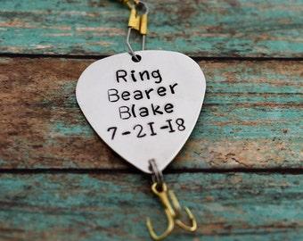 "Handmade Stamped Fishing Lure -""Ring Bearer""*Fisherman*Personalized Lure**Gift for Him**Ring Bearer Gift**Wedding Gift*"