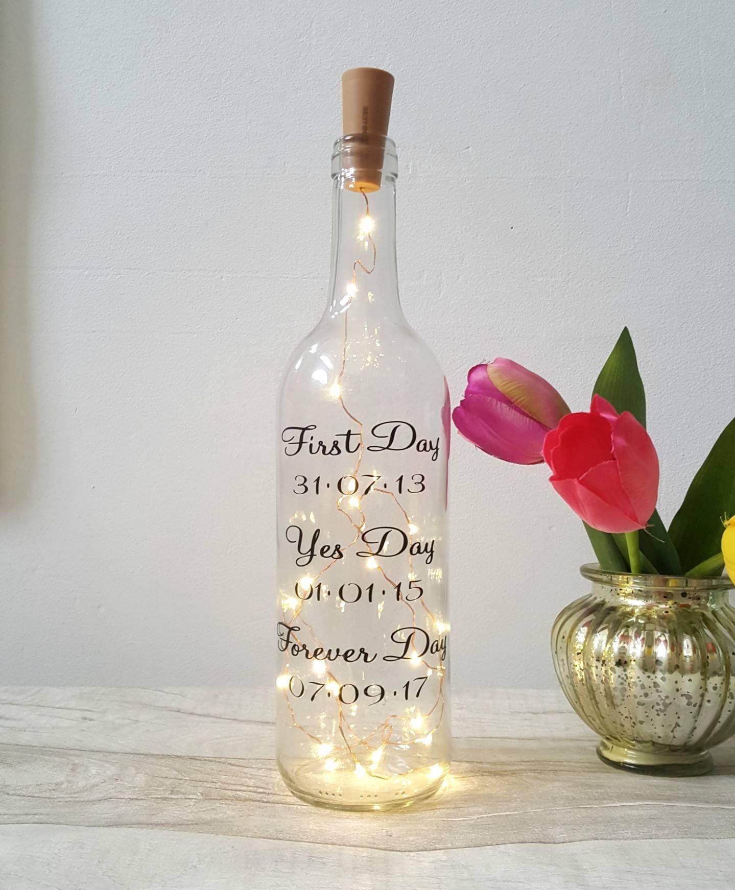 Wedding Wine Bottles: Wedding Day Gift Wine Light Bottle Message On A Bottle Gay