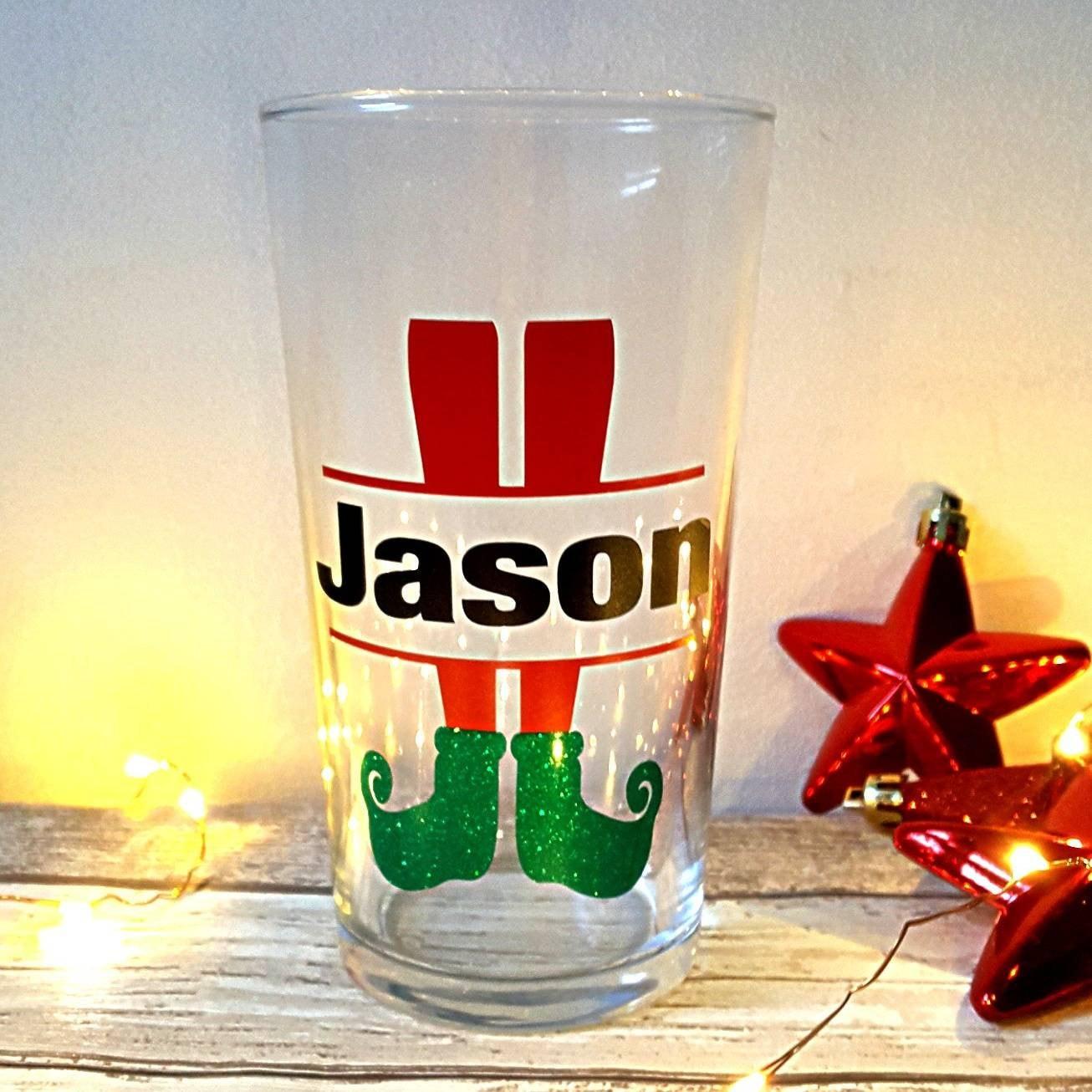 Beer glass pint glass Christmas glass gift for men beer | Etsy