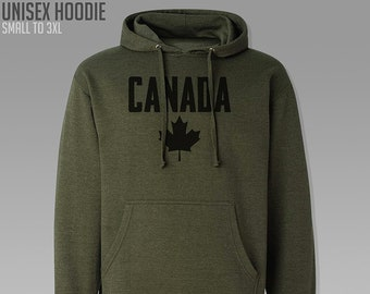 35a725aeb98a02 Canada Hoodie   Adult S to 3XL   Heather Army Green   Pullover Sweatshirt    Unisex Fit   Canadian   Canadien   Maple Leaf