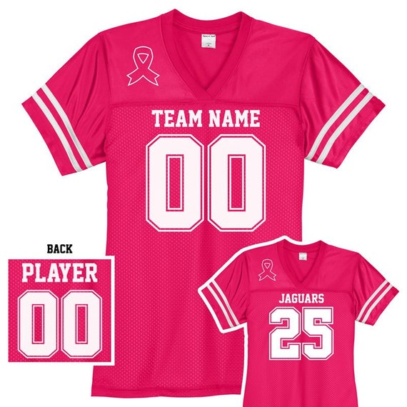 quite nice 6f147 75d0c Custom Breast Cancer Awareness Football Jersey / Women's Relaxed Fit /  Personalize with Your Name and Number / Raspberry Pink / XS to 4XL