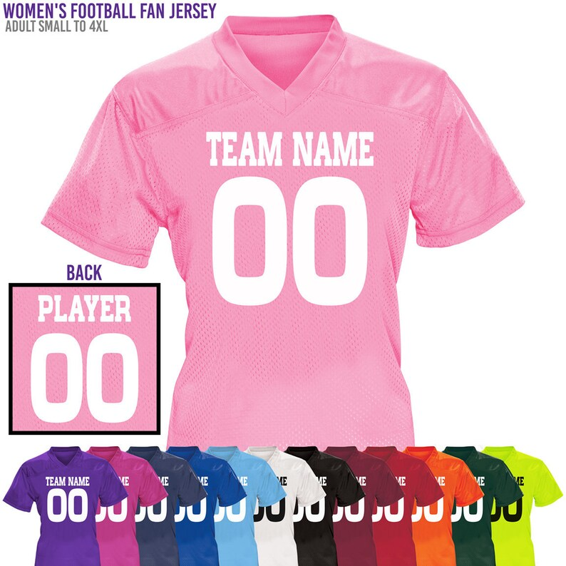 Women s Custom Football Fan Jerseys   Relaxed Fit   Sizes S to 4XL   Ladies  Jersey   Cheer   Seniors   Bachelorette   Powder Puff b1936171c