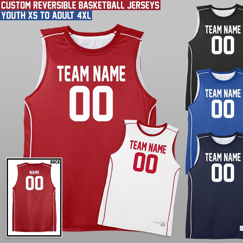 12886690bf01 Reversible Basketball Jerseys   Youth and Adult Sizes   XS to