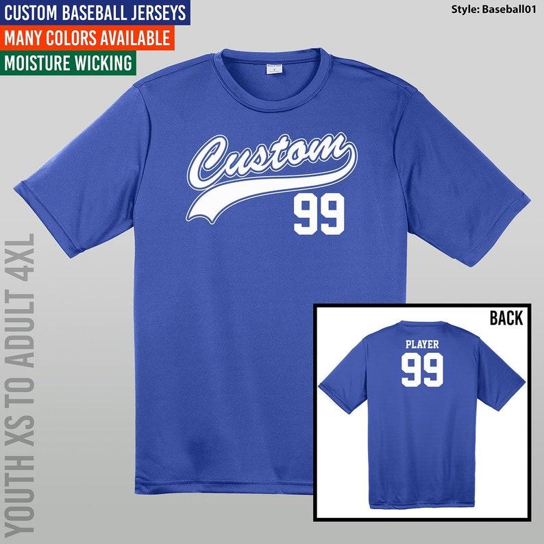 best service a16ee ac3da Custom Baseball Jerseys / Youth XS to Adult 4X / Moisture Wicking Jersey /  Baseball / Softball / T-Shirts / Uniform / Style - Baseball01