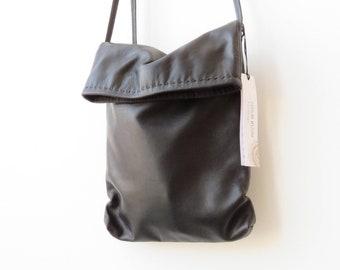 Black Leather Crossbody Bag, Cross Shoulder Bag, Leather Crossbody Bag, Cross Over Purse, Fold Over Bag, Designer Bag, Boho Bag, Evening Bag
