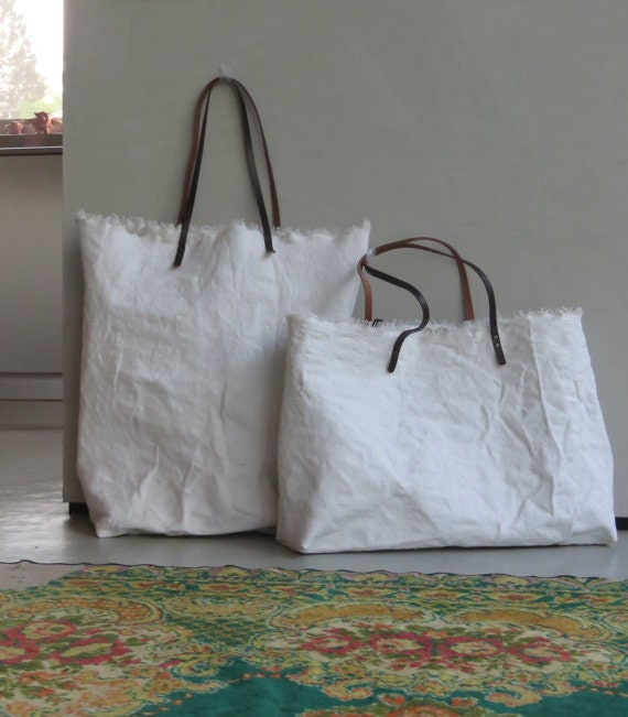 Oversized Canvas White Tote Bag Extra Large women Shoulder  f229c3939