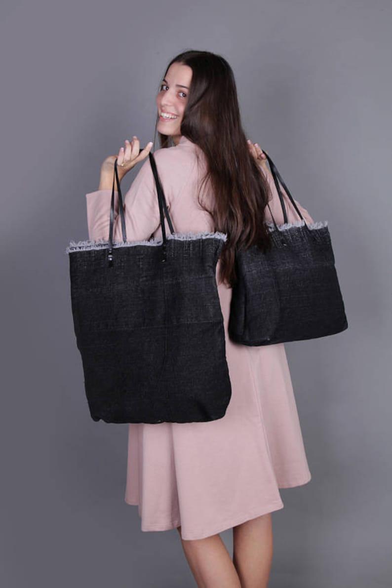 ba340effc45 Black Canvas Tote Bag, Big Tote Bag, Oversized Tote Bag, Large Shoulder  Bag, Large Canvas Bag, Yoga Bag, Boho Bag, Trendy Bag, Designer Bag