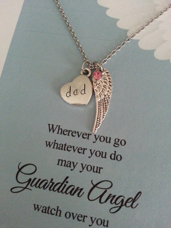 loss grief Memorial gift thinking of you sympathy card DAD Angel wings