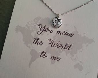 Globe Necklace / You Mean the World to Me / World Necklace / Nature Jewelry / Valentine Gift / Earth Necklace