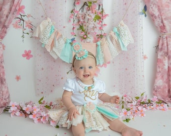 """The """"Mint Carousel"""" Collection. Pink Mint & Gold Fabric Tutu, Cake Smash outfit, First Birthday Girl, Birthday Outfit, High Chair Banner"""